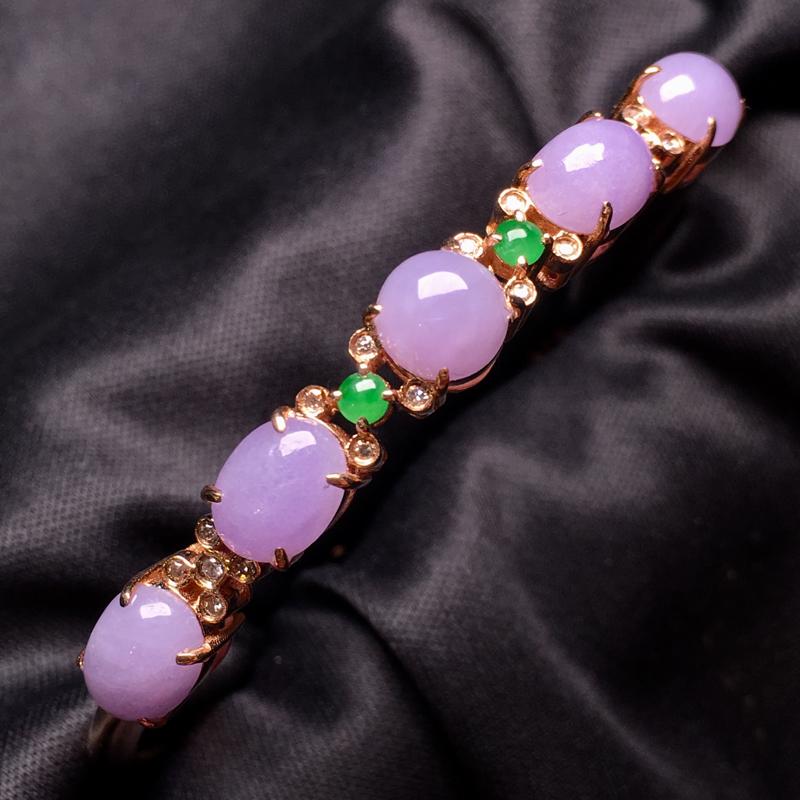 【翡翠A货,紫罗兰蛋面手镯,18k真金真钻镶嵌,完美,种水超好,玉质细腻。###】图4