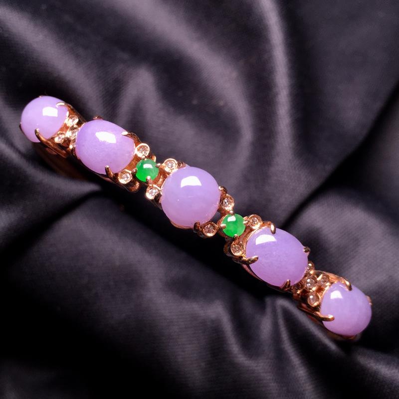 【翡翠A货,紫罗兰蛋面手镯,18k真金真钻镶嵌,完美,种水超好,玉质细腻。###】图3