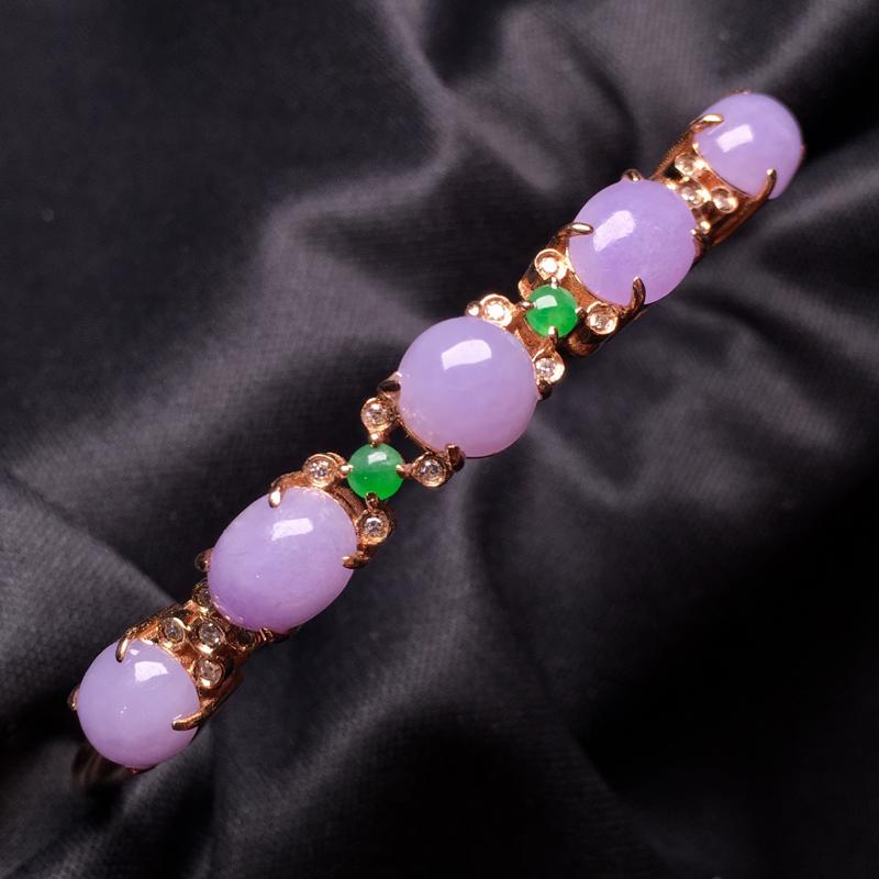 【翡翠A货,紫罗兰蛋面手镯,18k真金真钻镶嵌,完美,种水超好,玉质细腻。###】图6