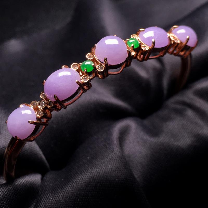 【翡翠A货,紫罗兰蛋面手镯,18k真金真钻镶嵌,完美,种水超好,玉质细腻。###】图7