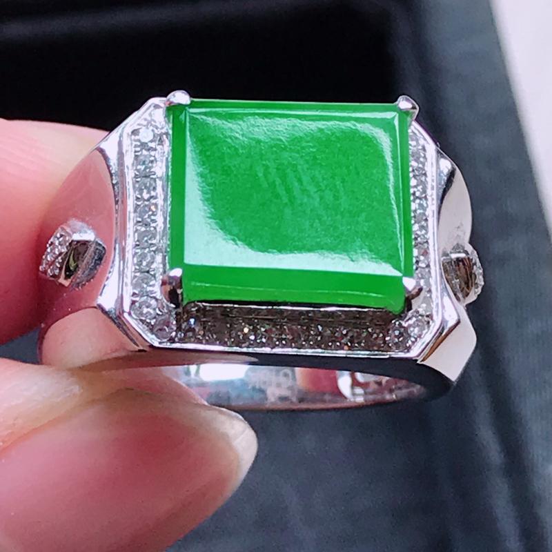 【1006,18k精雕完美好种满绿戒指,裸石尺寸 : 10.5*12*3/18.5,雕工精美,颜色漂亮,水润起光】图3