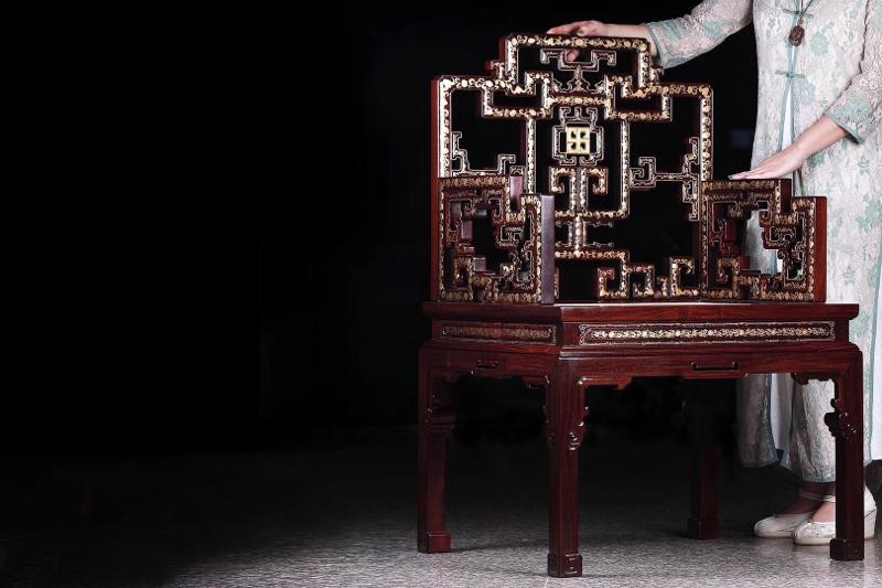 典藏版 紫檀描金万福纹扶手椅「清中期」 长67厘米 宽57厘米 高104厘米 故宫博物院 复刻款 扶