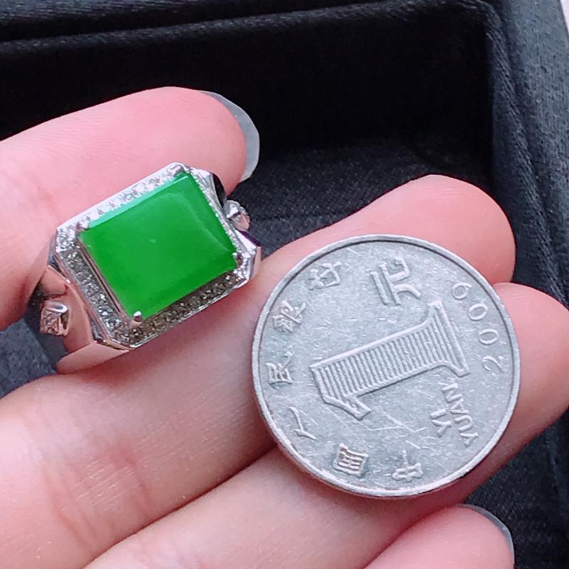 【1006,18k精雕完美好种满绿戒指,裸石尺寸 : 10.5*12*3/18.5,雕工精美,颜色漂亮,水润起光】图6