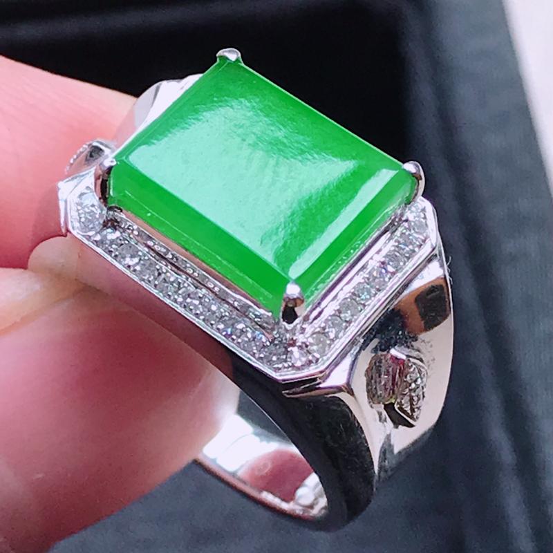 【1006,18k精雕完美好种满绿戒指,裸石尺寸 : 10.5*12*3/18.5,雕工精美,颜色漂亮,水润起光】图4