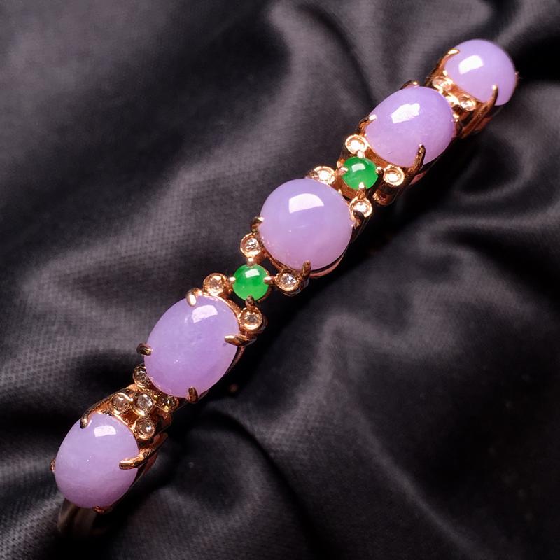 【翡翠A货,紫罗兰蛋面手镯,18k真金真钻镶嵌,完美,种水超好,玉质细腻。###】图5