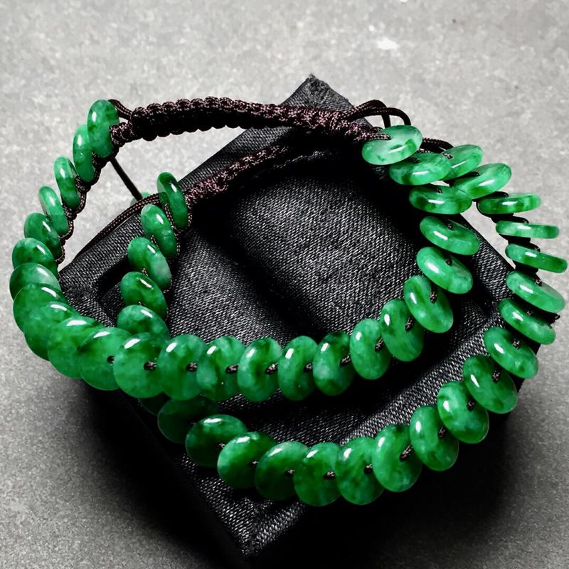【冰种辣绿平安扣编织手链,色辣水润,尺寸8/2.3】图5