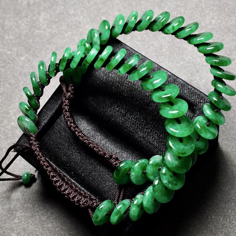 【冰种辣绿平安扣编织手链,色辣水润,尺寸8/2.3】图2