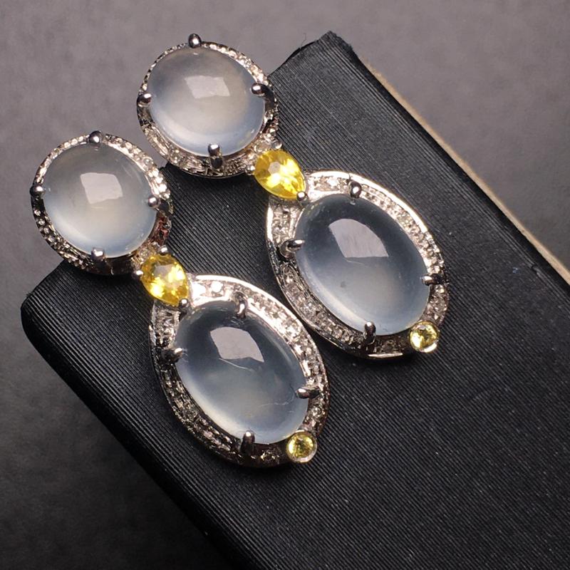【翡翠A货,高冰蛋面耳坠,18k真金真钻镶嵌,完美,种水超好,玉质细腻。】图2