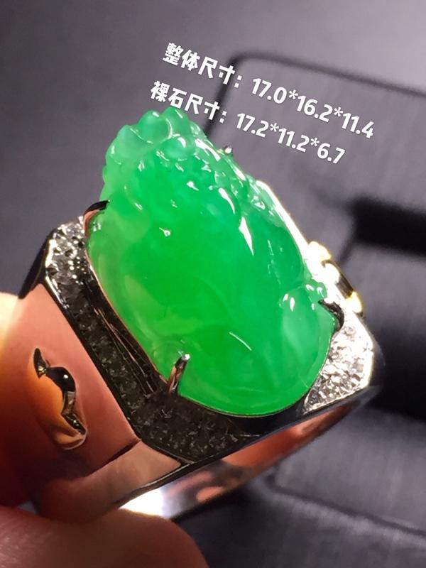 【翡翠A货,阳绿貔貅戒指,18k真金真钻镶嵌,完美,种水超好,玉质细腻。】图9