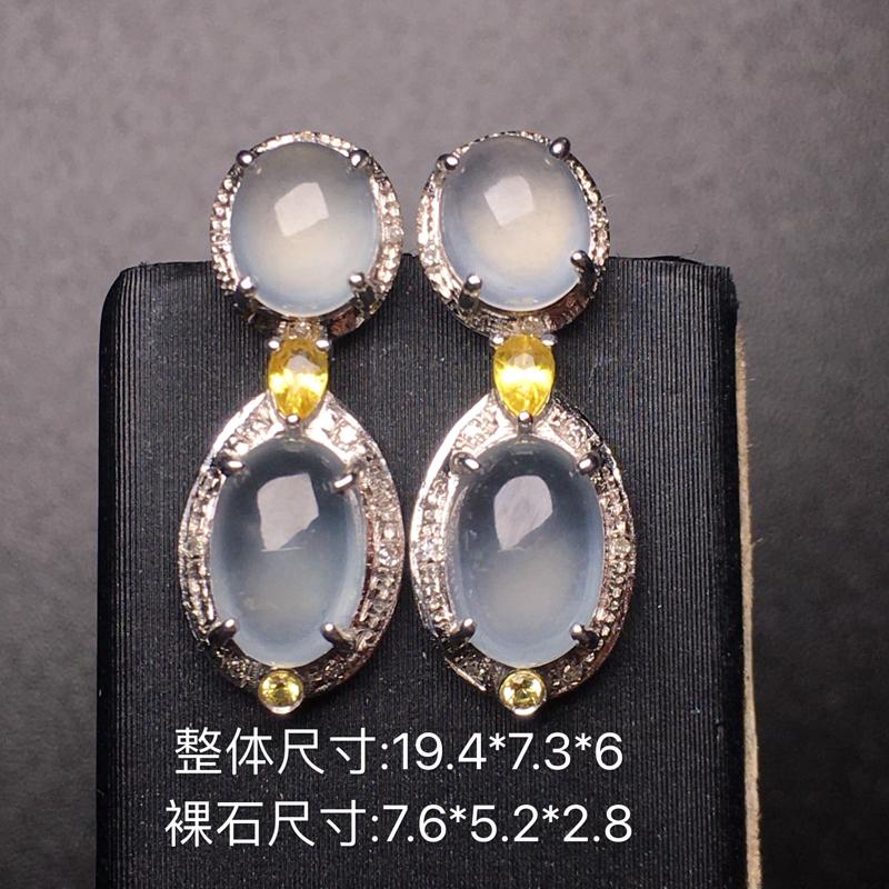 【翡翠A货,高冰蛋面耳坠,18k真金真钻镶嵌,完美,种水超好,玉质细腻。】图8
