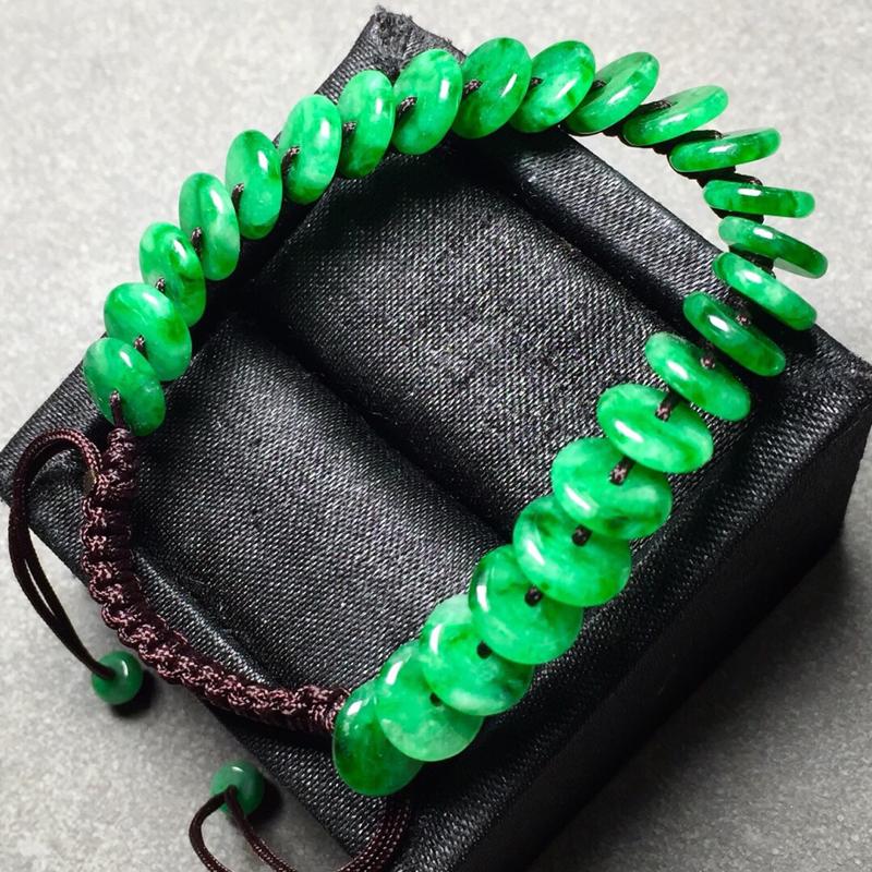 【冰种辣绿平安扣编织手链,色辣水润,尺寸8/2.3】图7