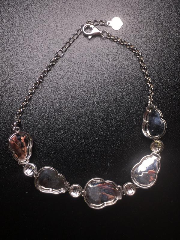 【翡翠A货,阳绿葫芦手链,18k真金真钻镶嵌,完美,种水超好,玉质细腻。】图7