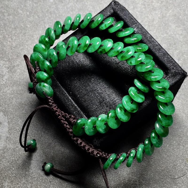 【冰种辣绿平安扣编织手链,色辣水润,尺寸8/2.3】图3