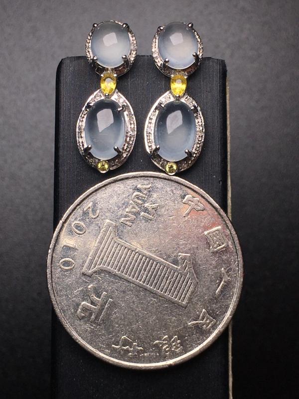 【翡翠A货,高冰蛋面耳坠,18k真金真钻镶嵌,完美,种水超好,玉质细腻。】图6