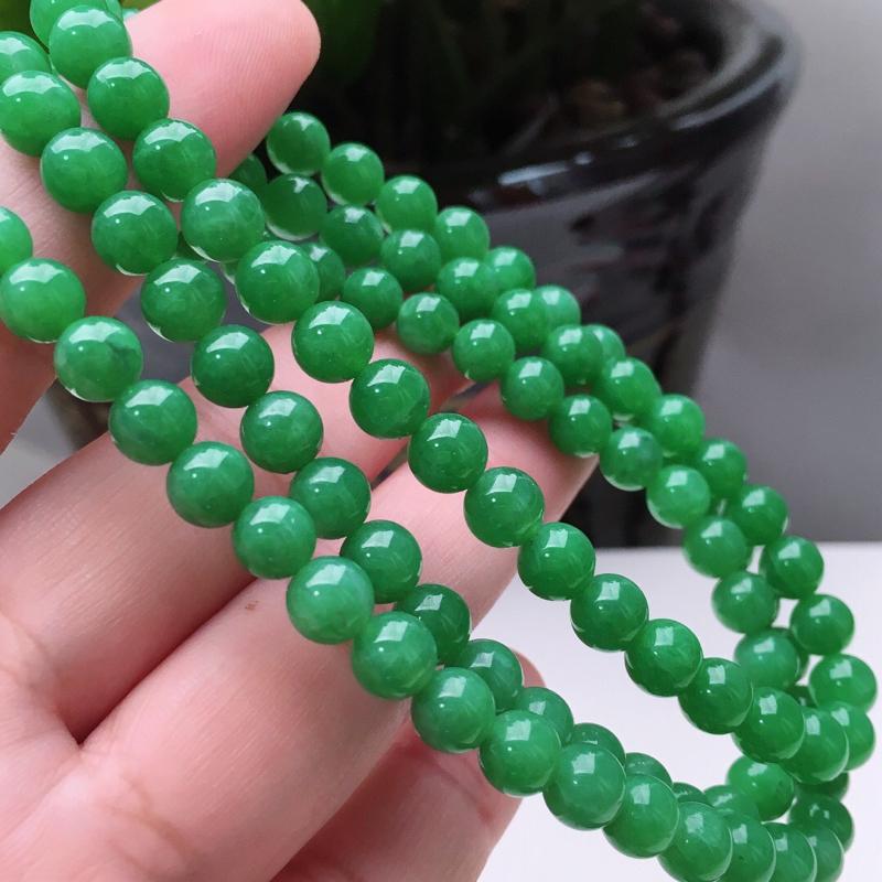 【天然A货翡翠108颗佛珠好种水满绿圆珠项链,长700mm,珠子直径6.6mm,共108颗,重54.26g】图4