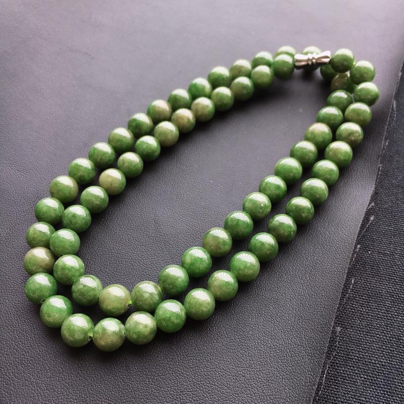 天然A货翡翠满色项链珠链珠径8