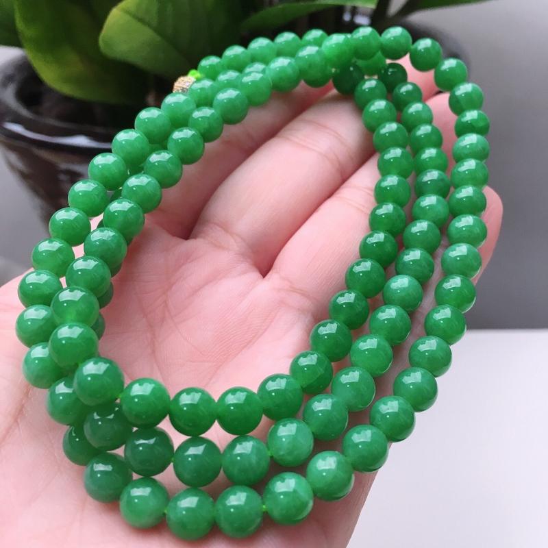 【天然A货翡翠108颗佛珠好种水满绿圆珠项链,长700mm,珠子直径6.6mm,共108颗,重54.26g】图2