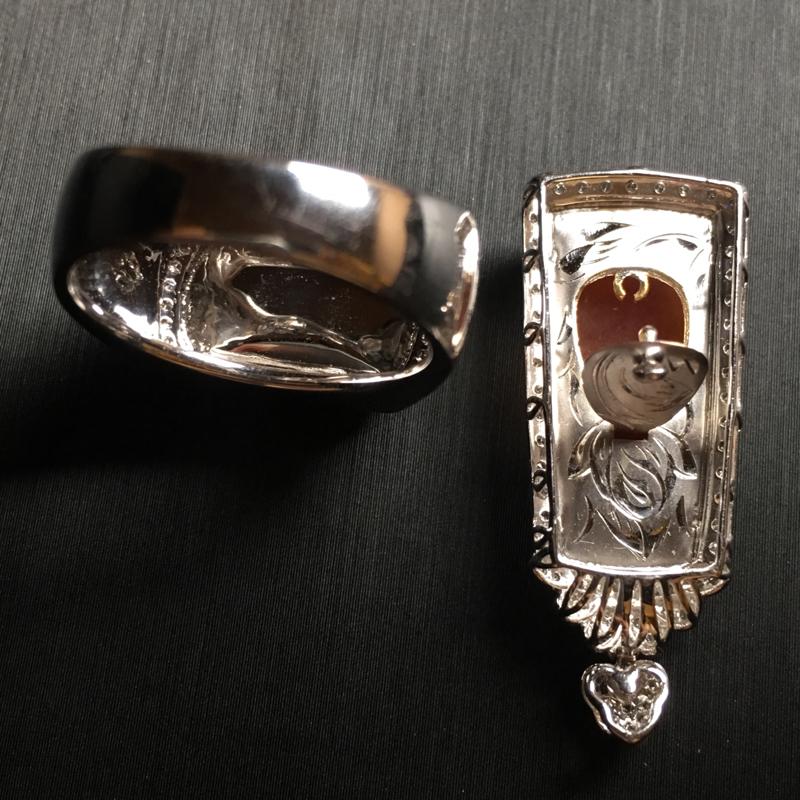 【翡翠A货,黄翡套装 无事牌吊坠🈴️马鞍戒指,18k金伴钻镶嵌,完美,种水超好,性价比高。】图7