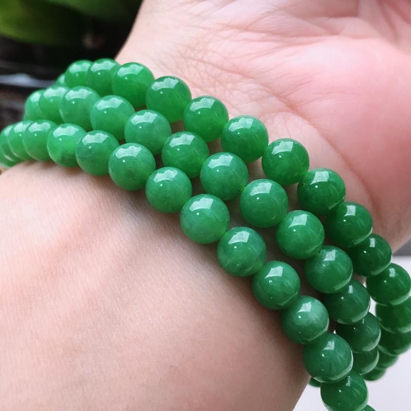 【天然A货翡翠108颗佛珠好种水满绿圆珠项链,长700mm,珠子直径6.6mm,共108颗,重54.26g】图7