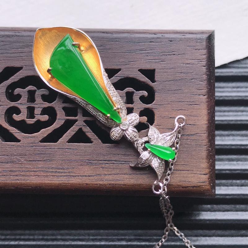 【天然翡翠A货18K金镶嵌伴钻细糯种满绿精美水滴项链,含金尺寸32-10.6-5.6mm,裸石尺寸16.7-7-3mm,玉质细腻,种水好 胶感十足,底色漂亮,上身效果漂亮】图4