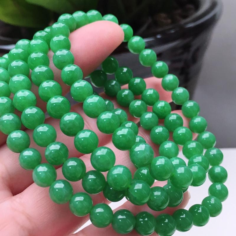 【天然A货翡翠108颗佛珠好种水满绿圆珠项链,长700mm,珠子直径6.6mm,共108颗,重54.26g】图5