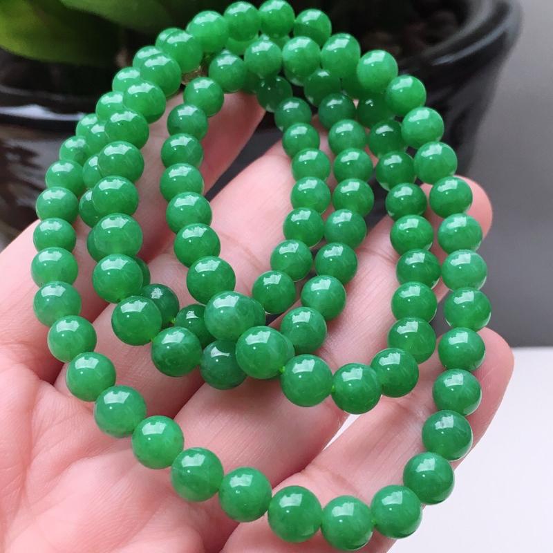 【天然A货翡翠108颗佛珠好种水满绿圆珠项链,长700mm,珠子直径6.6mm,共108颗,重54.26g】图6
