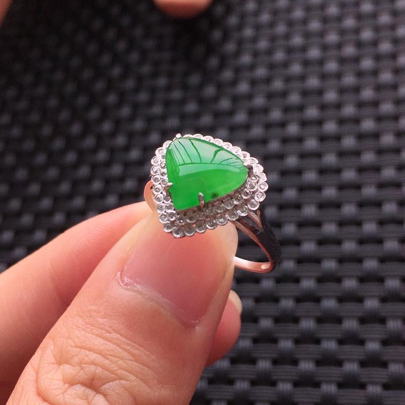 【天然A货翡翠满绿戒面镶嵌18K金戒指、圈口17、戒面尺寸9.5*8.5*1.5、无纹裂】图10