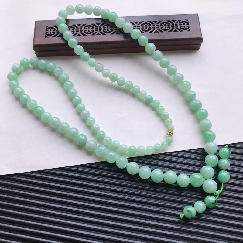 【天然翡翠A货细糯种满绿精美圆珠项链,尺寸9.7mm,玉质细腻,种水好 胶感十足,底色漂亮,上身效果漂亮】图6