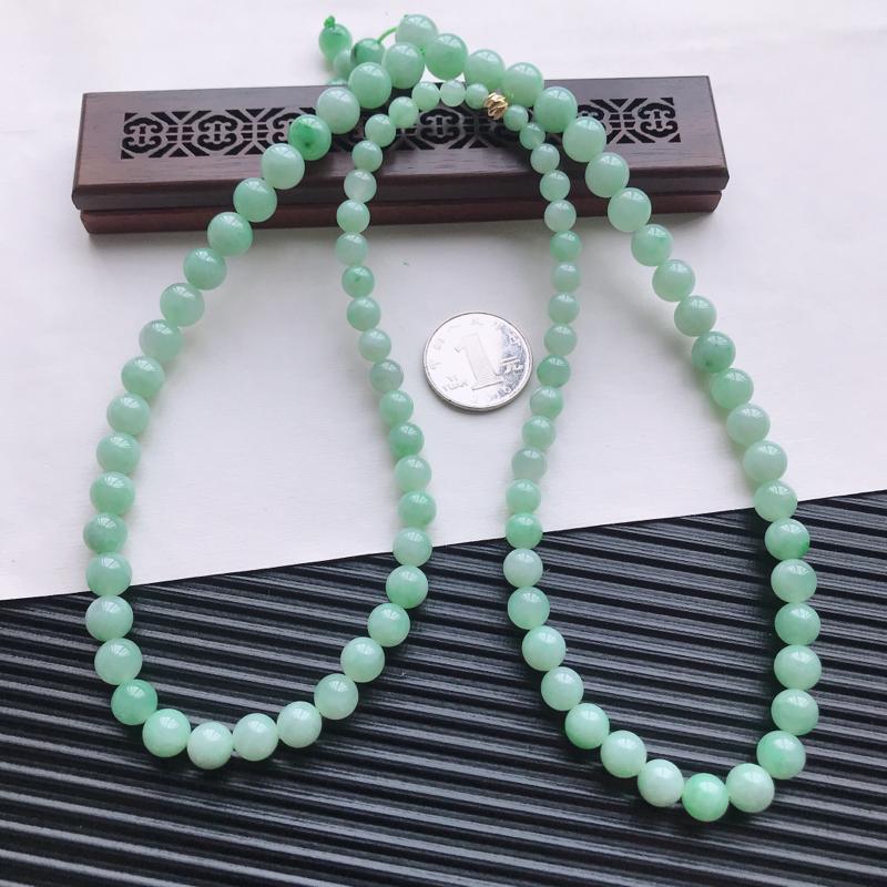 【天然翡翠A货细糯种满绿精美圆珠项链,尺寸9.7mm,玉质细腻,种水好 胶感十足,底色漂亮,上身效果漂亮】图7