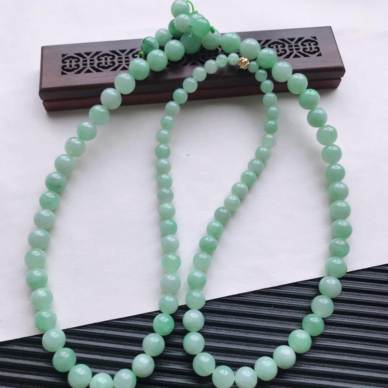 【天然翡翠A货细糯种满绿精美圆珠项链,尺寸9.7mm,玉质细腻,种水好 胶感十足,底色漂亮,上身效果漂亮】图5