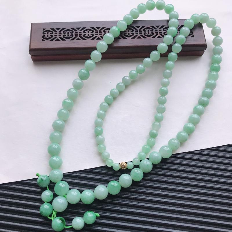 【天然翡翠A货细糯种满绿精美圆珠项链,尺寸9.7mm,玉质细腻,种水好 胶感十足,底色漂亮,上身效果漂亮】图3