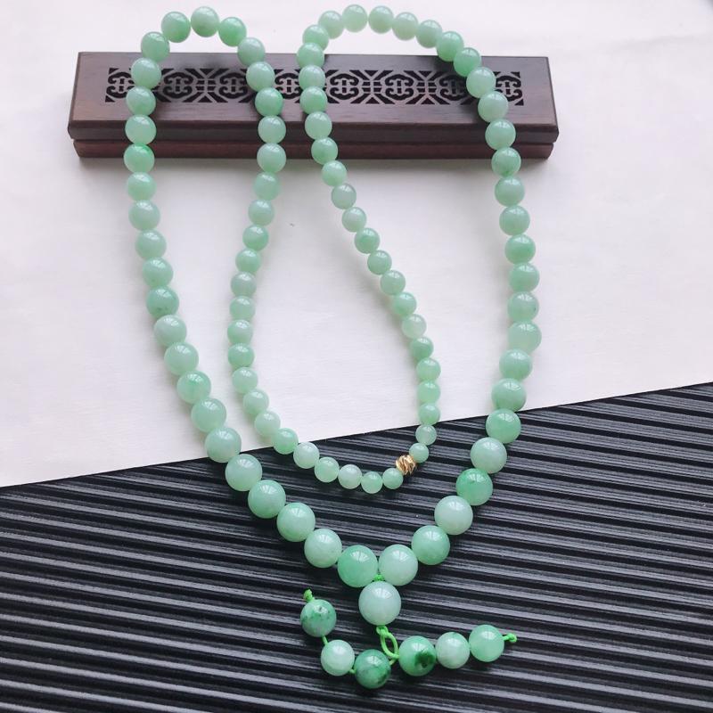【天然翡翠A货细糯种满绿精美圆珠项链,尺寸9.7mm,玉质细腻,种水好 胶感十足,底色漂亮,上身效果漂亮】图4