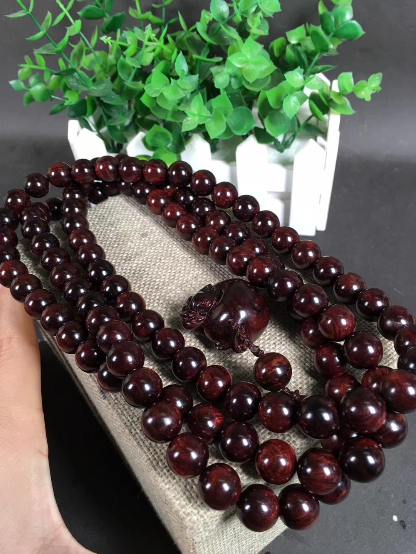 海南黄花梨紫油梨、1.2cm念珠、108颗+1粒!瘤疤花、水波及天眼、同料一条、配饰高档(貔貅)可遇