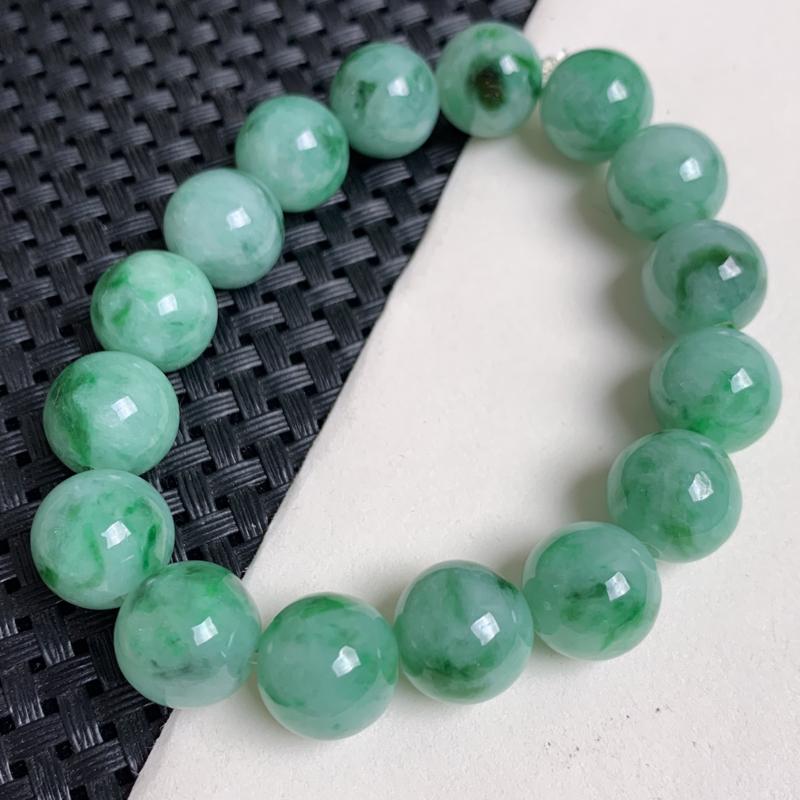 天然翡翠A货_满绿翡翠手链,玉质细腻,颜色艳丽,圆润饱满,佩戴效果更佳###