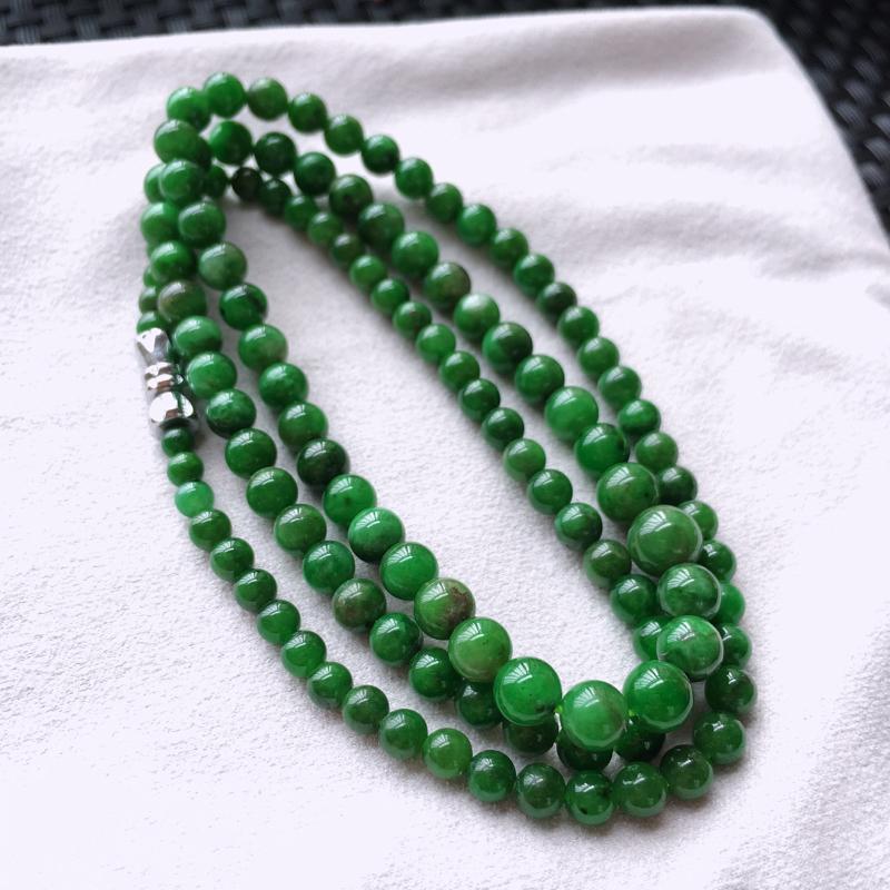 天然A货翡翠满绿塔珠项链、大珠径6、小珠径3、个别珠子轻微纹