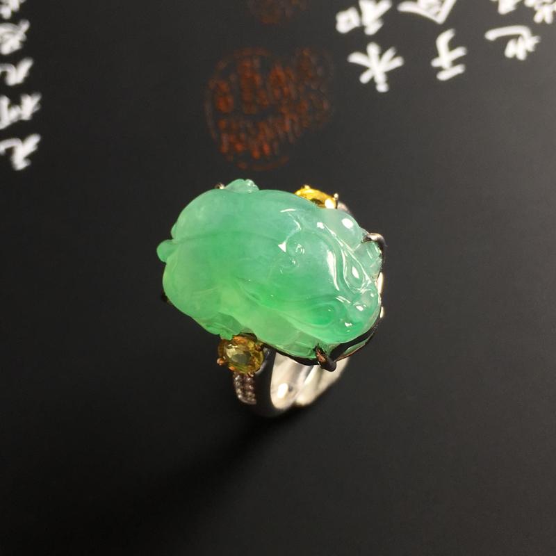 ️【冰糯种飘绿貔貅戒指】18K金带钻镶嵌