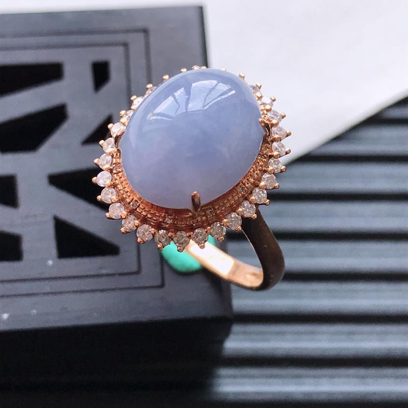 天然翡翠A货18K金镶嵌伴钻细糯种紫罗兰精美蛋面戒指,内径尺寸18.3m