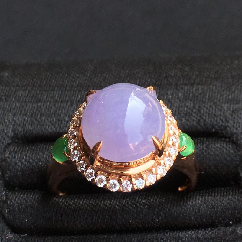 冰紫蛋面戒指 佩戴仙美。玉质细腻,完美