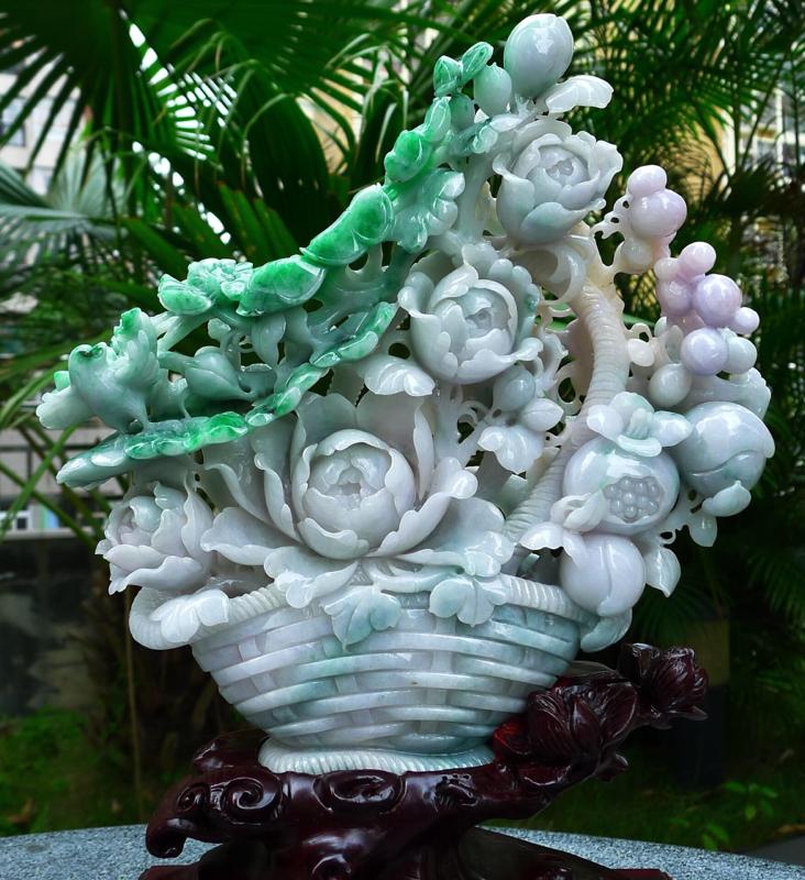 精雕花篮摆件 缅甸天然翡翠A货 精美 花开富贵 多子多福 好事连连 花蓝摆件 雕刻精美线条流畅 种水