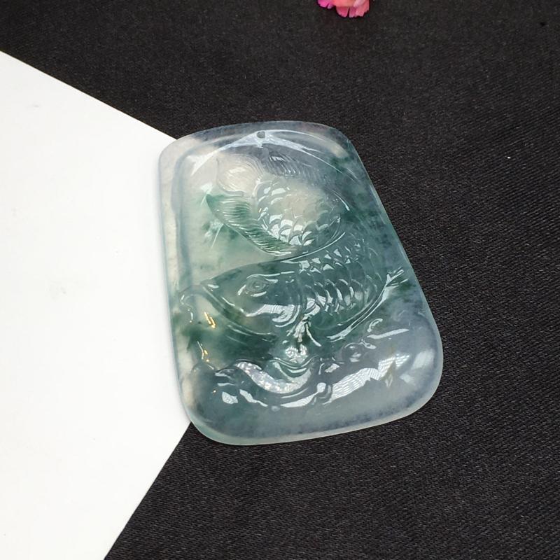 冰飘蓝花挂件,年年有余,完美,底庄细腻,性价比高,推荐,尺寸42*29*5mm,重量13.56g##