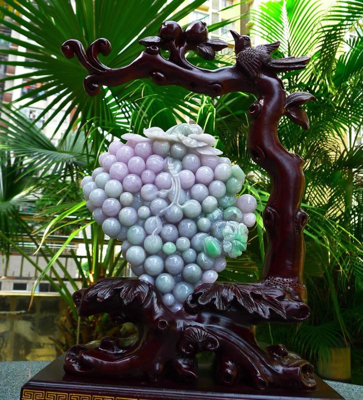 精雕紫罗兰 大件葡萄 摆件缅甸天然翡翠A货 精美 春带彩 紫罗兰 喜上眉梢 花开富贵 多子多福 葡萄