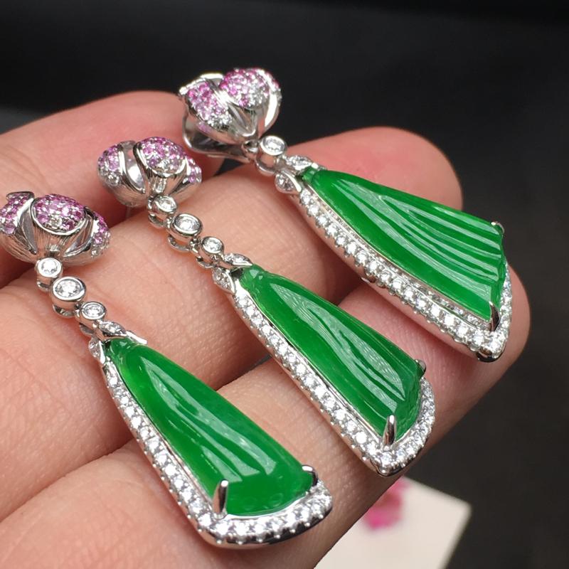 阳绿套装,底庄细腻,18K白金南非真钻镶嵌,耳坠有微纹可忽略,性价比高,推荐,耳坠尺寸38*10.2
