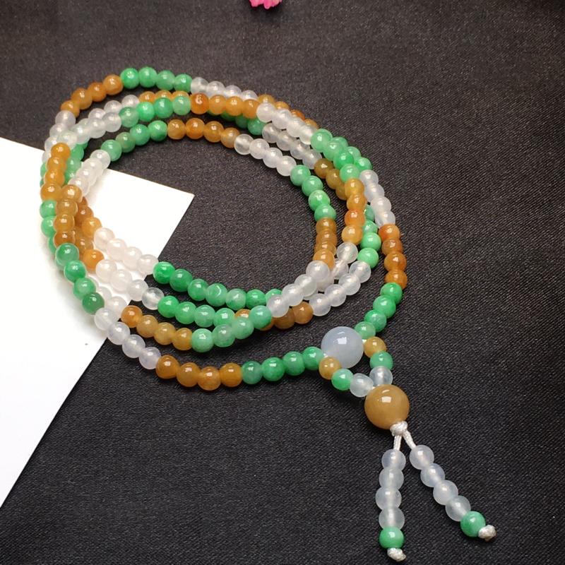 三彩珠链,福禄寿,底庄细腻,可做项链搭配,上身美爆了,个别有微纹可忽略,性价比高,推荐,尺寸3.5m