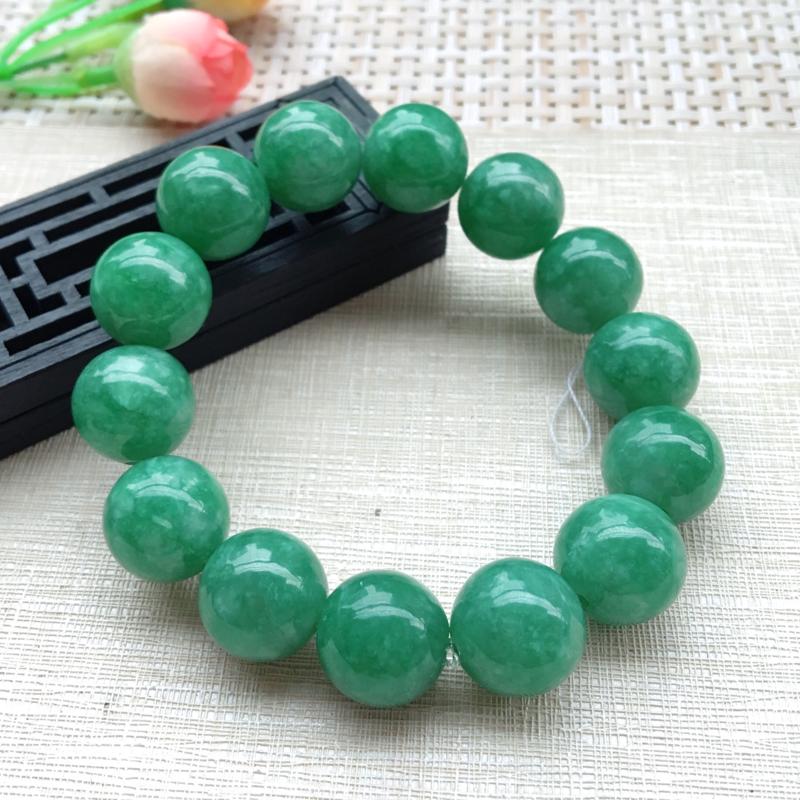 【男士手珠链【自然光拍摄】超大颗满绿圆珠手链,珠圆玉润,珠子大小均匀,大颗圆润饱满,满绿均匀,清新翠绿色,上手大气迷人,共14颗,尺寸取一16mm】图8