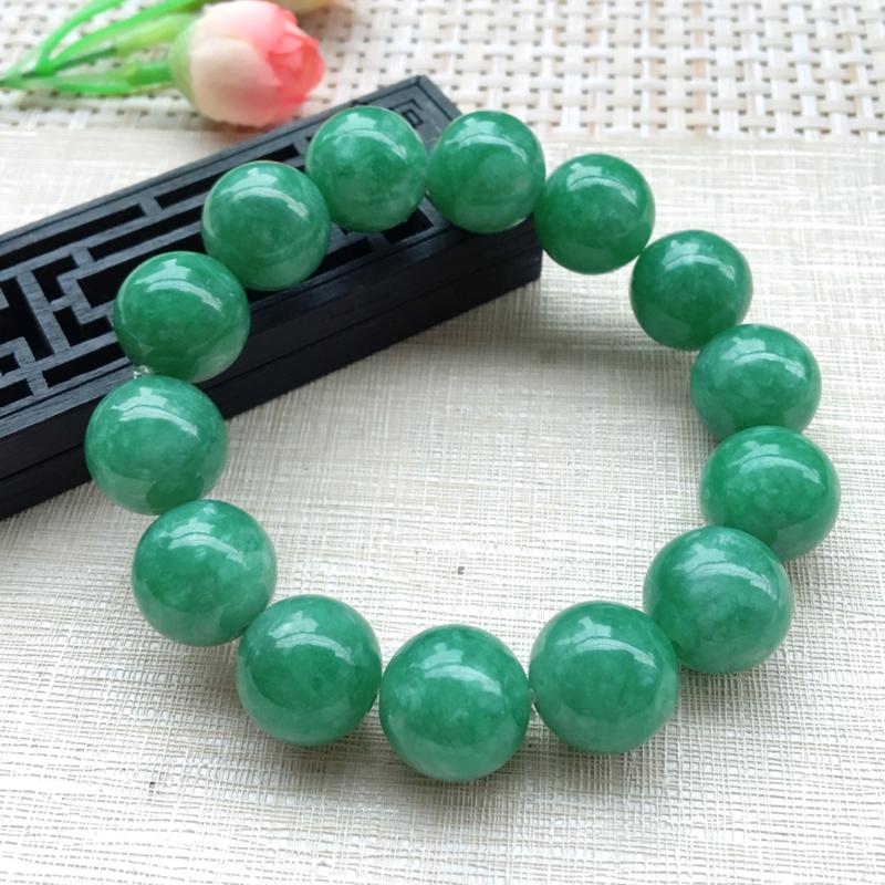 【男士手珠链【自然光拍摄】超大颗满绿圆珠手链,珠圆玉润,珠子大小均匀,大颗圆润饱满,满绿均匀,清新翠绿色,上手大气迷人,共14颗,尺寸取一16mm】图3