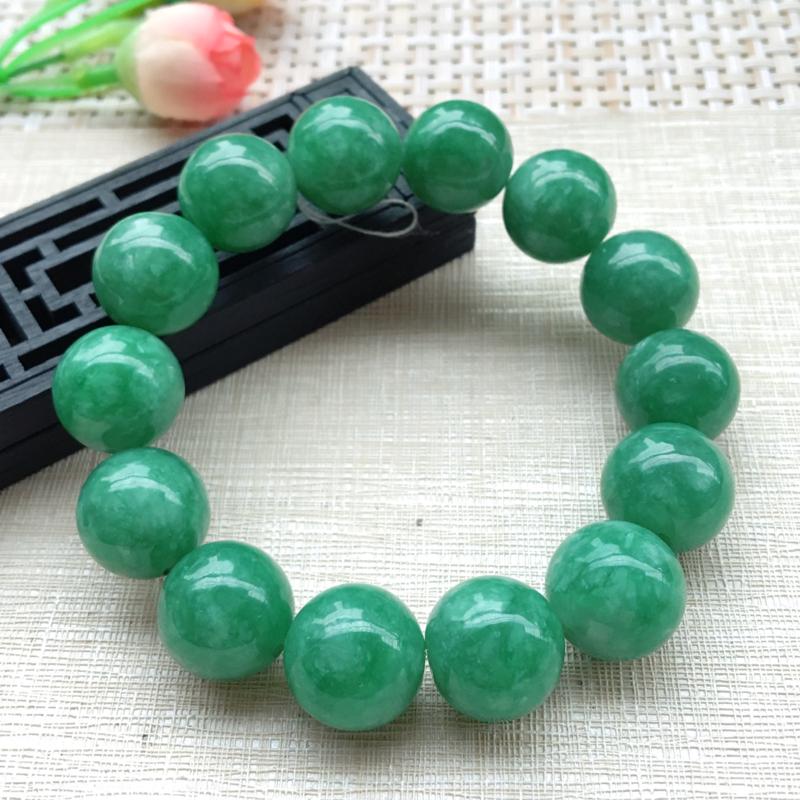 【男士手珠链【自然光拍摄】超大颗满绿圆珠手链,珠圆玉润,珠子大小均匀,大颗圆润饱满,满绿均匀,清新翠绿色,上手大气迷人,共14颗,尺寸取一16mm】图4