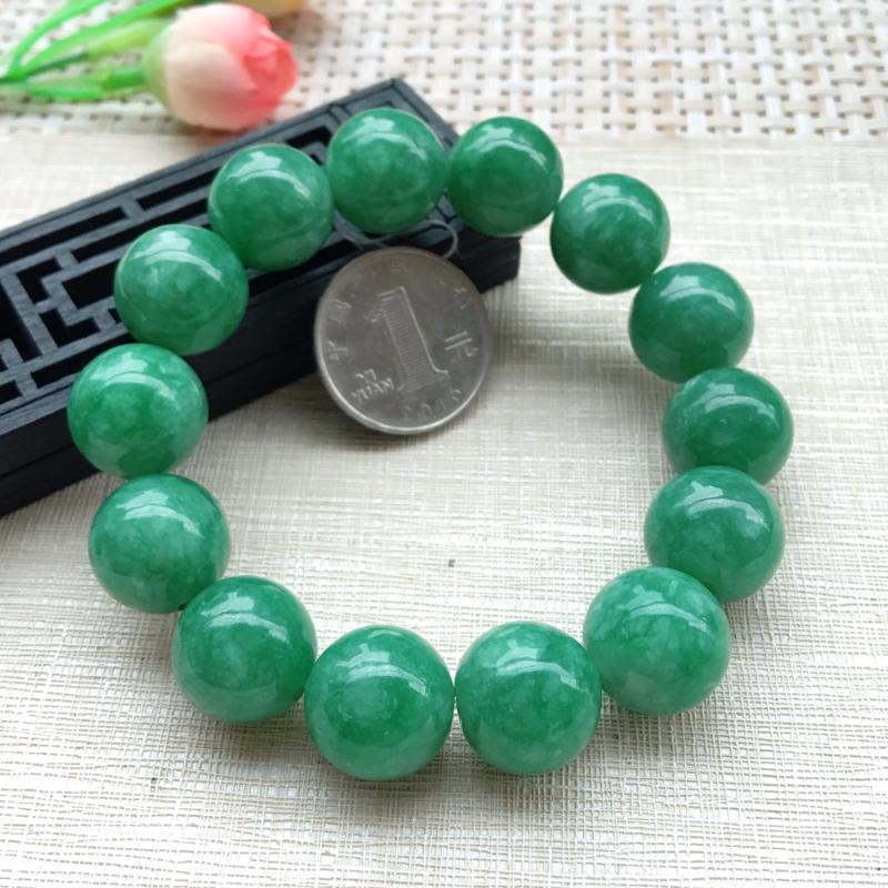 【男士手珠链【自然光拍摄】超大颗满绿圆珠手链,珠圆玉润,珠子大小均匀,大颗圆润饱满,满绿均匀,清新翠绿色,上手大气迷人,共14颗,尺寸取一16mm】图6