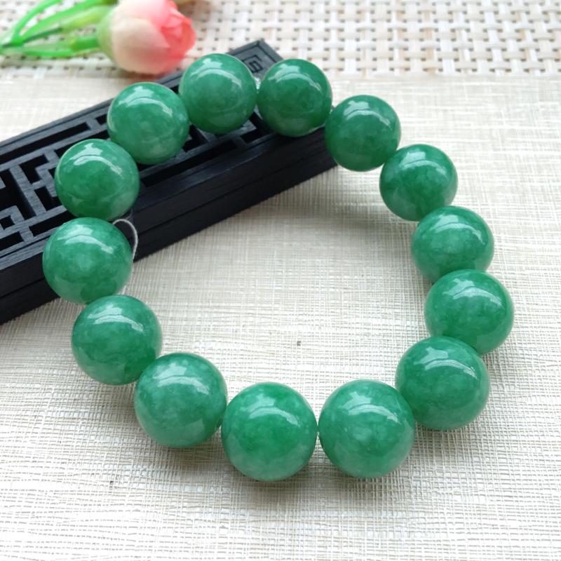 【男士手珠链【自然光拍摄】超大颗满绿圆珠手链,珠圆玉润,珠子大小均匀,大颗圆润饱满,满绿均匀,清新翠绿色,上手大气迷人,共14颗,尺寸取一16mm】图7