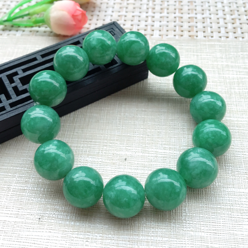 【男士手珠链【自然光拍摄】超大颗满绿圆珠手链,珠圆玉润,珠子大小均匀,大颗圆润饱满,满绿均匀,清新翠绿色,上手大气迷人,共14颗,尺寸取一16mm】图5