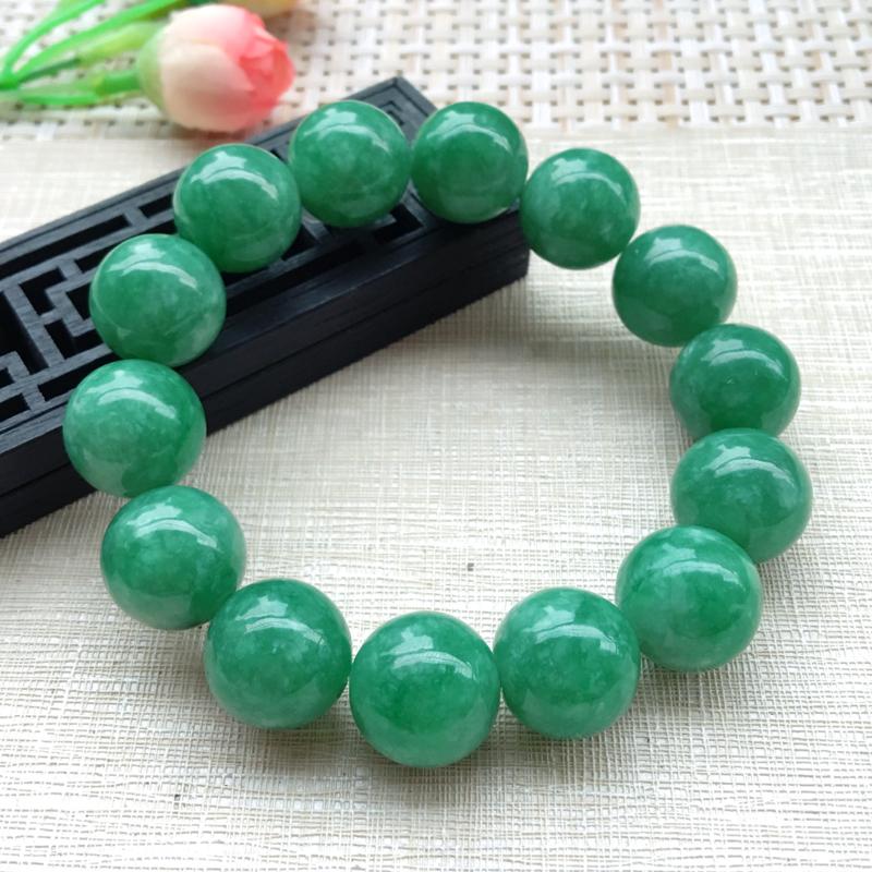 【男士手珠链【自然光拍摄】超大颗满绿圆珠手链,珠圆玉润,珠子大小均匀,大颗圆润饱满,满绿均匀,清新翠绿色,上手大气迷人,共14颗,尺寸取一16mm】图2